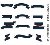 navy blue and red ribbon set... | Shutterstock .eps vector #1456068209