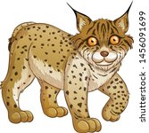 cute wildcat cartoon vector and ... | Shutterstock .eps vector #1456091699