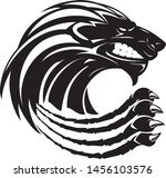 black lion abstract with sharp... | Shutterstock .eps vector #1456103576