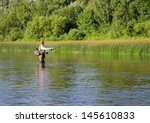 fisherman catches of chub  fly... | Shutterstock . vector #145610833