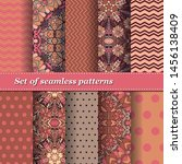 set of trendy seamless floral... | Shutterstock .eps vector #1456138409