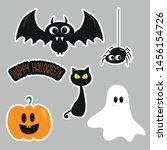 stickers  ghost  halloween ... | Shutterstock .eps vector #1456154726