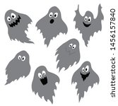 funny ghost set vector... | Shutterstock .eps vector #1456157840