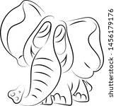 drawing of elephant ... | Shutterstock .eps vector #1456179176