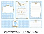 a set of cute blue templates... | Shutterstock .eps vector #1456186523
