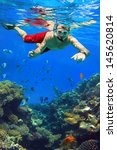 man snorkeling in red sea of... | Shutterstock . vector #145620814