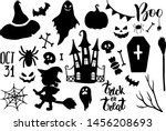 halloween icons silhouettes.... | Shutterstock .eps vector #1456208693