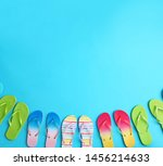 different flip flops and space... | Shutterstock . vector #1456214633