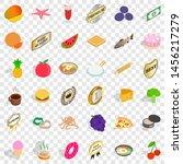 dish icons set. isometric 36... | Shutterstock . vector #1456217279