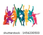 colorful happy group people... | Shutterstock .eps vector #1456230503