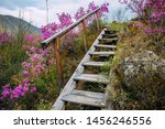 Old Staircase With Wooden Step...