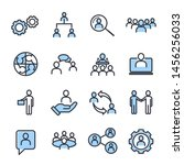 icons set of team work related... | Shutterstock .eps vector #1456256033