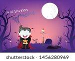 halloween night  vampire and... | Shutterstock .eps vector #1456280969