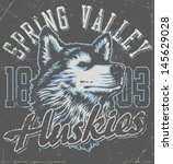 "Retro ""Huskies"" athletic design complete with husky mascot vector illustration, vintage athletic fonts and matching textures (all on separate layers, of course).  - stock vector"