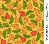 pears seamless pattern. vector... | Shutterstock .eps vector #1456297940