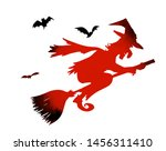 the silhouette of a witch... | Shutterstock .eps vector #1456311410