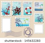 set of stamps on the theme of... | Shutterstock .eps vector #145632283