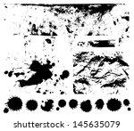 black scratched  crumpled... | Shutterstock .eps vector #145635079