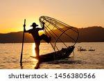 Silhouette Of Myanmar Fisherman ...
