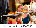 good friends for lunch in a... | Shutterstock . vector #145640530