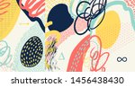 Stock vector creative doodle art header with different shapes and textures collage vector 1456438430