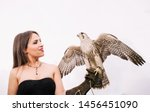 Small photo of Elegant woman in strapless black dress holding falcon bird. Isolated on white background. The gird spreads its wings