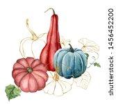 watercolor golden pumpkins... | Shutterstock . vector #1456452200