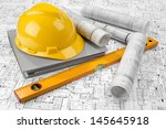 yellow helmet  level  grey... | Shutterstock . vector #145645918