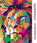 hand drawn lion head on...   Shutterstock .eps vector #1456460090