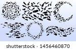 set of schools of fish. black... | Shutterstock .eps vector #1456460870
