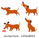 Stock vector cute cartoon illustrations of a happy playful dog 145648004