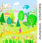 spring bright banner in... | Shutterstock .eps vector #1456492856