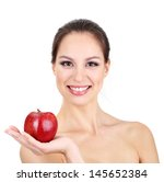 Smiling Woman With Apple...