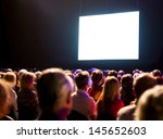 crowd audience in dark looking... | Shutterstock . vector #145652603