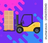 forklift carrying cargo. boxes... | Shutterstock .eps vector #1456555040