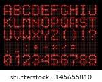 Led Digital Font On Black...