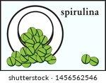 stylized green spirulina pills... | Shutterstock .eps vector #1456562546