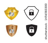 shields icon vector in simple... | Shutterstock .eps vector #1456583300