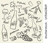 wine   grapes icons doodle... | Shutterstock .eps vector #145662869