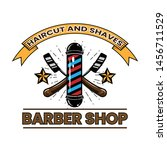 vintage barber shop logo with... | Shutterstock .eps vector #1456711529