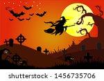 spooky halloween backgrounds ... | Shutterstock .eps vector #1456735706