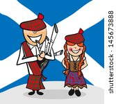 Scottish man and woman cartoon couple with national flag background. Vector illustration layered for easy editing. - stock vector