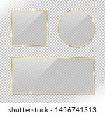 set of glossy circle rectangle... | Shutterstock .eps vector #1456741313