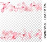 japanese cherry petals on... | Shutterstock .eps vector #1456745426