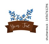 blue leaf decoration with blank ... | Shutterstock .eps vector #1456761296