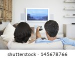 rear view of couple watching... | Shutterstock . vector #145678766
