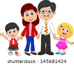 happy family cartoon | Shutterstock .eps vector #145681424