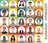 set of flat style avatars of... | Shutterstock .eps vector #1456816259