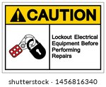 caution lockout electrical... | Shutterstock .eps vector #1456816340