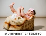 beautiful little girl lying in... | Shutterstock . vector #145683560